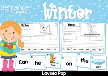 Sentence Scramble with Cut and Paste Worksheets - Winter
