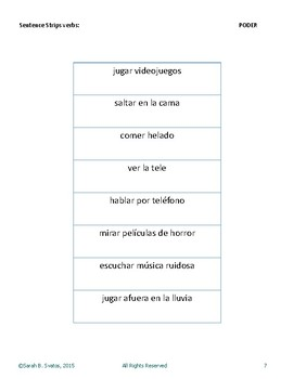 Sentence Strips- Spanish Sentence Structure Practice the v