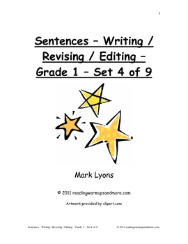 Sentences - Writing / Revising / Editing - Grade 1 - Set 4 of 9