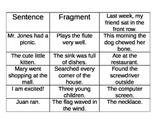 Sentences vs. Fragments