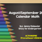 August/September 2013 Calendar Math for Promethean Board