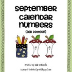 September Calendar Numbers: Back to School