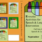 September Everyday Activities for Speech & Language Interv