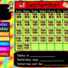 September Interactive Flipchart Calendar
