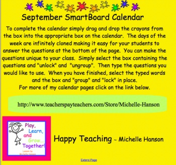 September Interactive SmartBoard Calendar