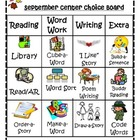 September Literacy Choice Board W/activity cards