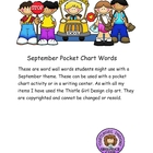 September Pocket Chart Words