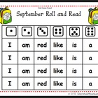 September Roll and Read Sight Words Game