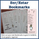 Ser Estar study sheet cheat sheet BOOKMARKS