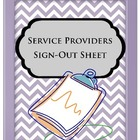 Service Provider Sign-Out Sheet