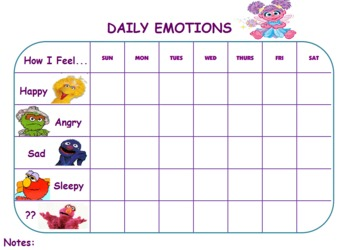 Sesame Street Emotion Chart
