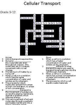 Set One 5 Biology Crosswords  -Macromolecules and Cells with Keys