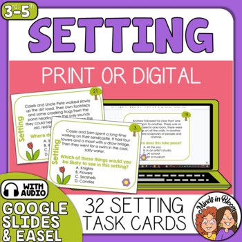 Setting Task Cards: 32 Multiple Choice Story Cards