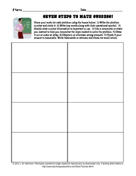 Seven Tips for Math Success & Graphic Organizer