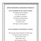 Seven Wonders of the World research project