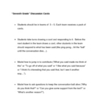 """Seventh Grade"" Discussion Cards, Comprehenion Questions"