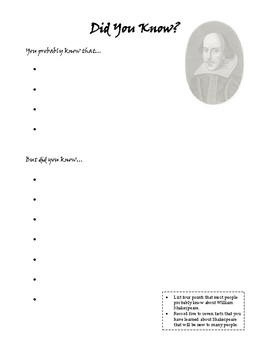 Shakespeare Did You Know and Mini Poster