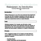 Shakespeare Introductory Webquest