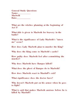Shakespeare Macbeth General Questions for Study