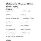 Shakespeare Words and Phrases We Use Today Worksheet