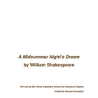 Shakespeare's A Midsummer Night's Dreeam Cut Script