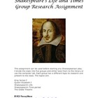 Shakespeare's Life and Times Group Research Assignment