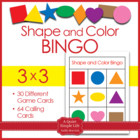 Shapes and Colors Bingo Game Cards in 3x3 Grids