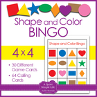 Shapes and Colors Bingo Game Cards in 4x4 Grids