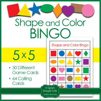 Shapes and Colors Bingo Game Cards in 5x5 Grids