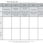 Shared Reading Five Day Planning Form For Kindergarten!