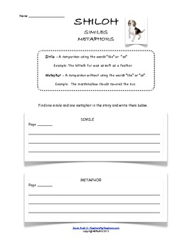 Shiloh Student Worksheets
