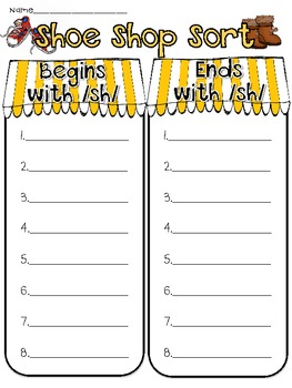 Shoe Shop:  A Digraph /sh/ Activity Pack