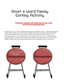 Short E Word Families - Hot Dogs