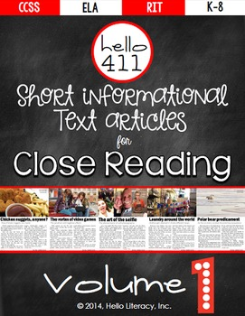 Close Reading Guided Reading - fun & short informational text - Hello 411 V.1