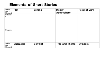 Short Story Elements Graphic Organizer