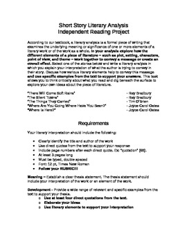 Short Story Literary Analysis Independent Reading Project