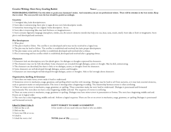 Short Story Rubric Creative Writing Peer & Teacher Editing