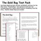 Short Story Test: The Gold Bug by Edgar Allan Poe
