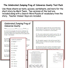Short Story Test: The Jumping Frog of Calavaras County by
