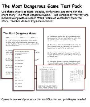 Short Story Test: The Most Dangerous Game by Richard Connell