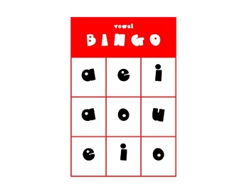 Short Vowel BINGO (9 square)