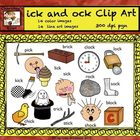 Short Vowel Clip art Set - ick and ock Word Families - Rhy