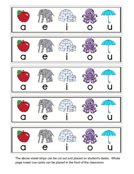 Short Vowel Cue Cards