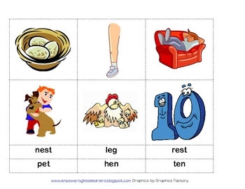 Short Vowel Picture Cards - Quiz Quiz Cooperative Learning Kagan