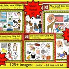 Short Vowel Value Clipart Bundle 2: short a, e, i, o, and u.