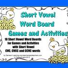 Short Vowel Word Boards for Games and Activities