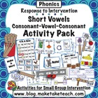 Short Vowel/Consonant-Vowel-Consonant Activity Pack