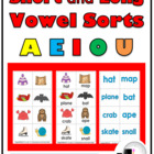 Short and Long Vowels (A E I O U) Sorting Activities (Colo