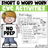 Short o Word Work Activities CVC Words