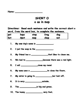 Short o sound activities